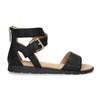Czarne sandały damskie ze złotymi klamrami mini-b, czarny, 361-6606 - 19