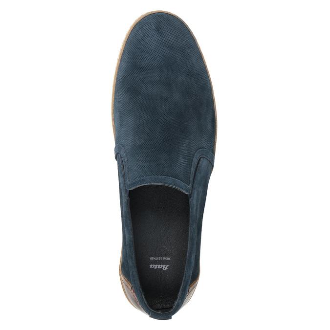 Granatowe zamszowe slip-on męskie bata, niebieski, 833-9602 - 15