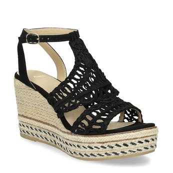 Czarne wyplatane sandały na platformie bata, czarny, 759-6633 - 13