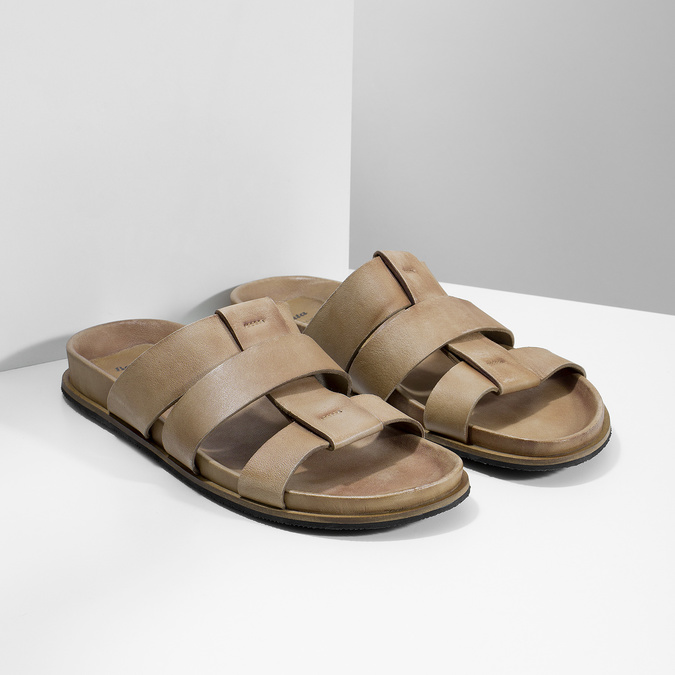 Jasnobrązowe skórzane klapki męskie bata, brązowy, 866-3639 - 26