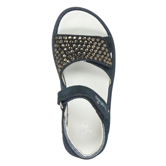 Granatowe skórzane sandały dziewczęce zkryształkami mini-b, niebieski, 463-9603 - 17