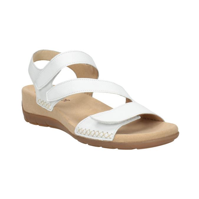 Białe skórzane sandały na rzepy gabor, biały, 666-1018 - 13