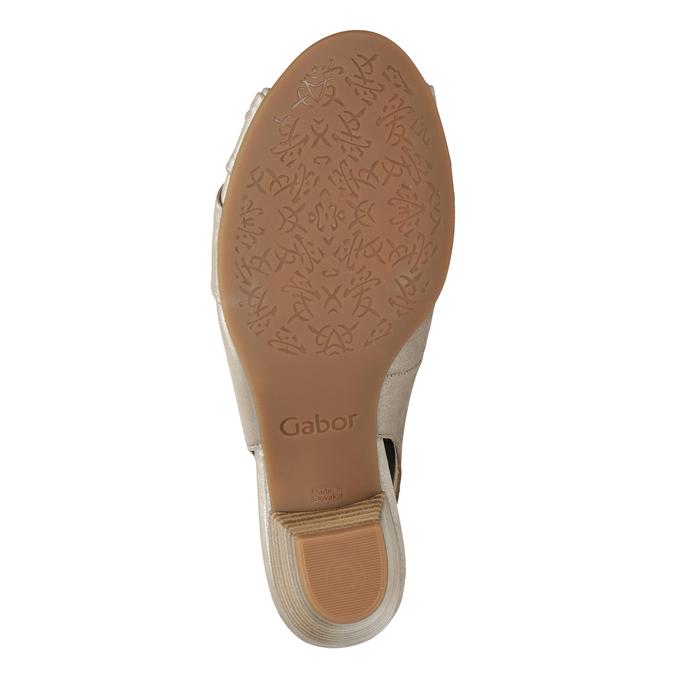 Skórzane sandały na stabilnych obcasach, oszerokościH gabor, złoty, 666-8020 - 17