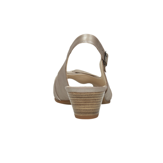 Skórzane sandały na stabilnych obcasach, oszerokościH gabor, złoty, 666-8020 - 16
