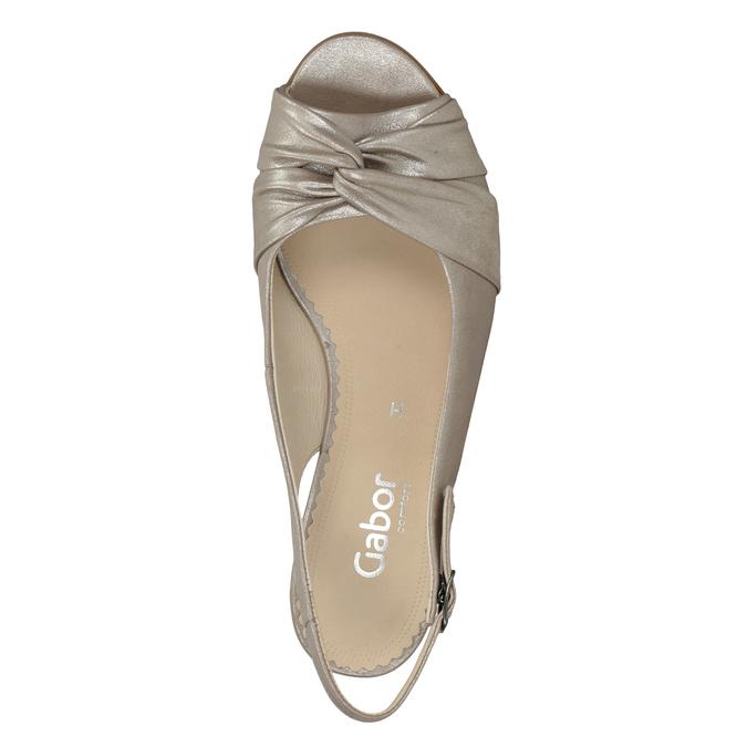 Skórzane sandały na stabilnych obcasach, oszerokościH gabor, złoty, 666-8020 - 15