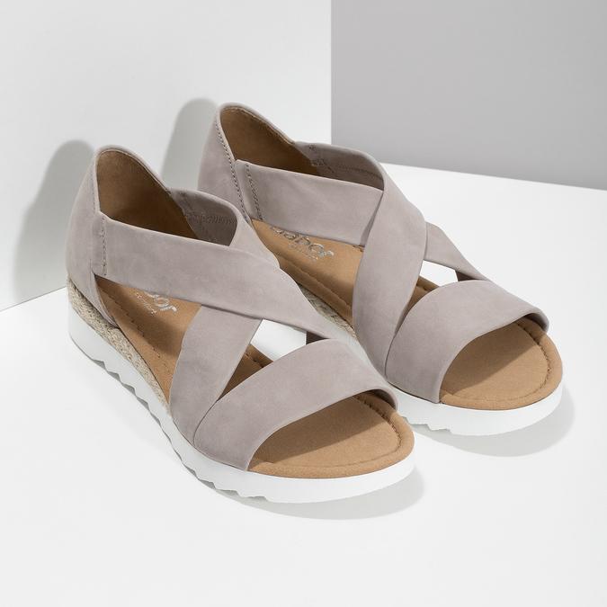 Skórzane sandały oszerokościG gabor, beżowy, 666-8347 - 26