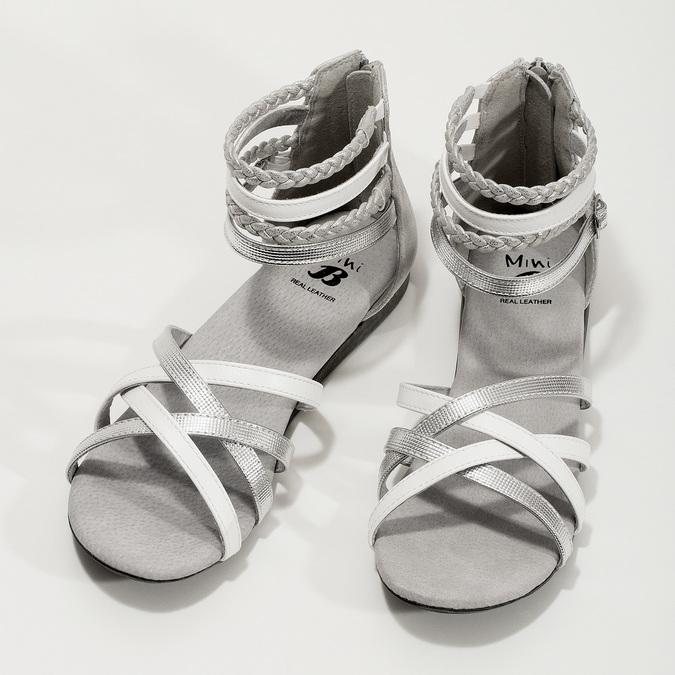 Biało-srebrne sandały dziewczęce mini-b, srebrny, 361-1605 - 16