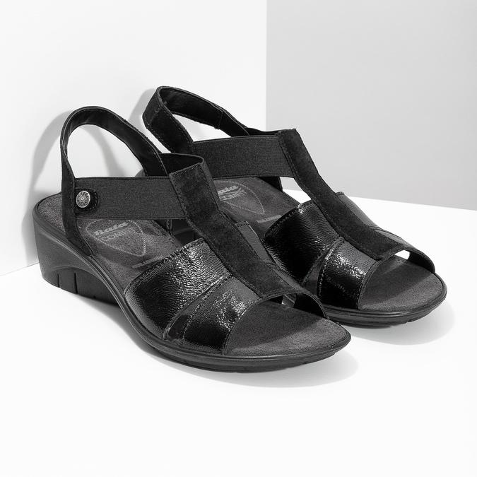 Czarne skórzane sandały na koturnach comfit, czarny, 666-6620 - 26