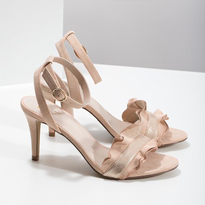 Różowe sandały zfalbanką, na szpilkach insolia, różowy, 769-5619 - 16