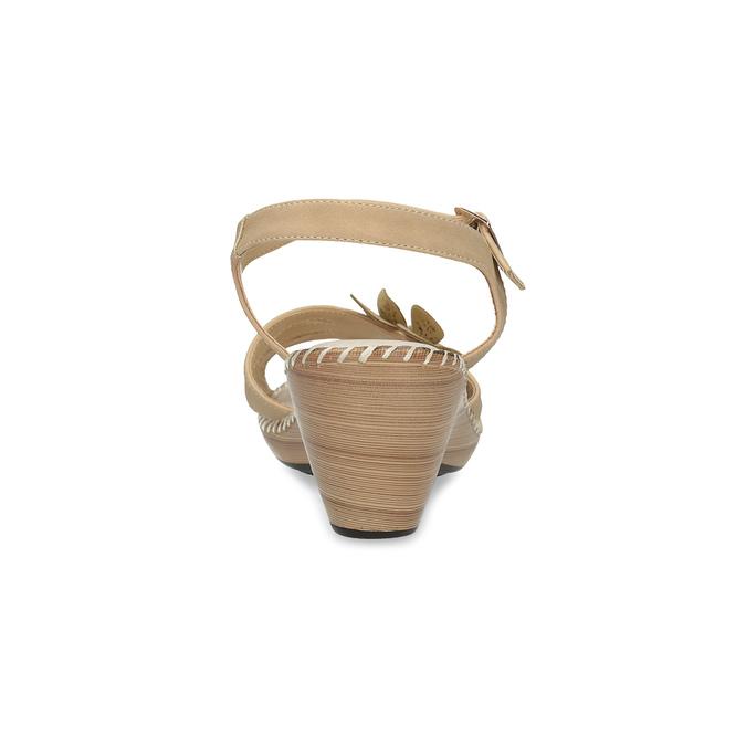 Beżowe sandały zkwiatkiem, beżowy, 661-8613 - 15