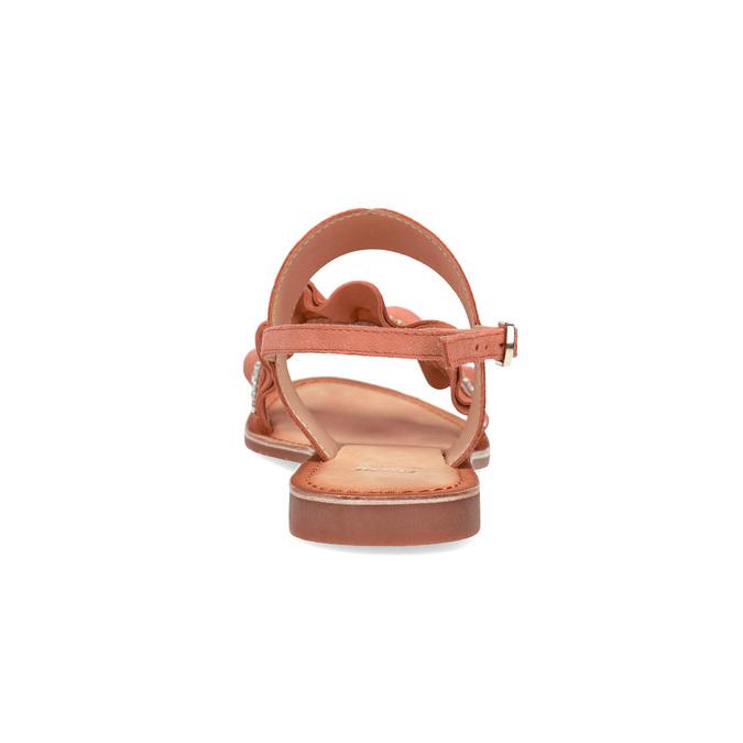 Różowe skórzane sandały damskie zperełkami bata, różowy, 566-5632 - 15