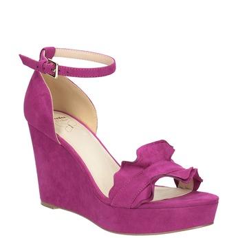 Sandały zfalbanką, na koturnach insolia, różowy, 769-5618 - 13