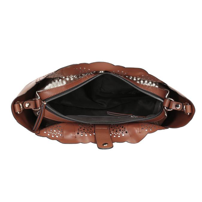Brązowa torebka damska zperforowanym wzorem bata, brązowy, 961-3265 - 15