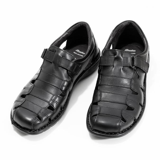 Czarne skórzane sandały męskie bata, czarny, 864-6600 - 16