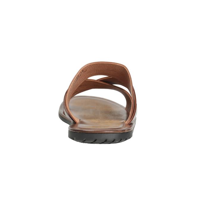 Brązowe skórzane klapki męskie ze skrzyżowanymi paskami bata, brązowy, 866-3603 - 15