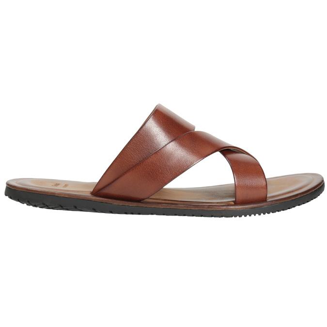Brązowe skórzane klapki męskie ze skrzyżowanymi paskami bata, brązowy, 866-3603 - 16