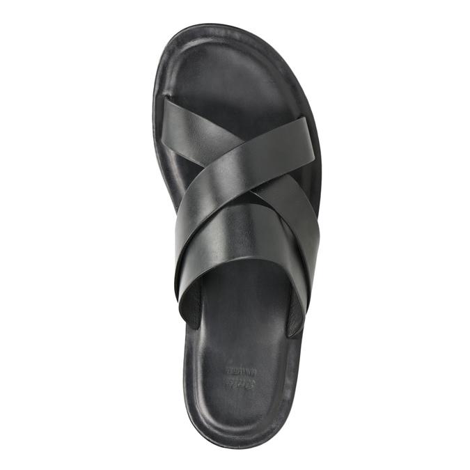Czarne skórzane klapki męskie ze skrzyżowanymi paskami bata, czarny, 864-6603 - 17