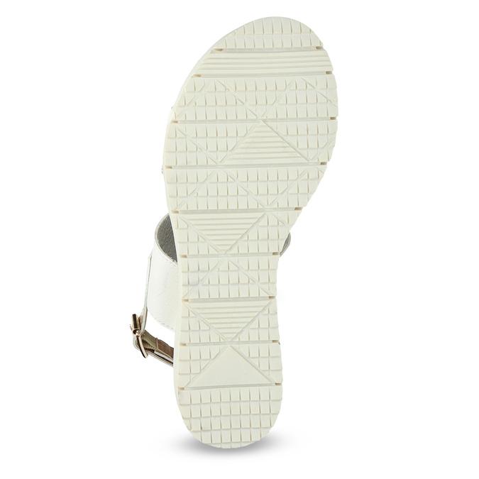 Sandały damskie ze złotymi paskami, na platformie bata, biały, 661-1614 - 18