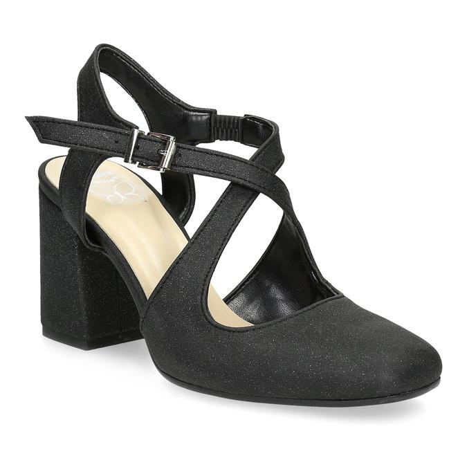 Czarne sandały damskie zbrokatem, na obcasach insolia, czarny, 726-6653 - 13