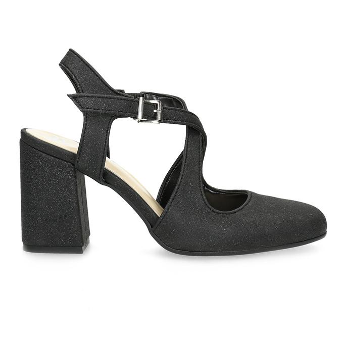 Czarne sandały damskie zbrokatem, na obcasach insolia, czarny, 726-6653 - 19