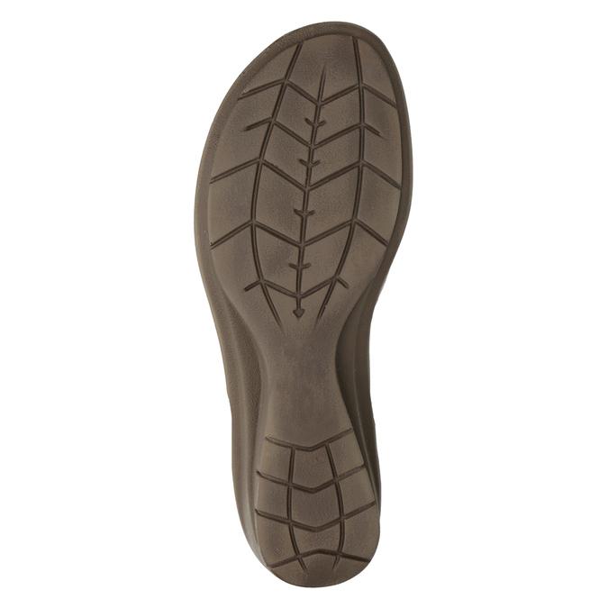 Skórzane sandały na koturnach comfit, brąz, 666-8620 - 19