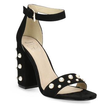 Sandały damskie zperełkami, na szerokich słupkach insolia, czarny, 769-6623 - 13