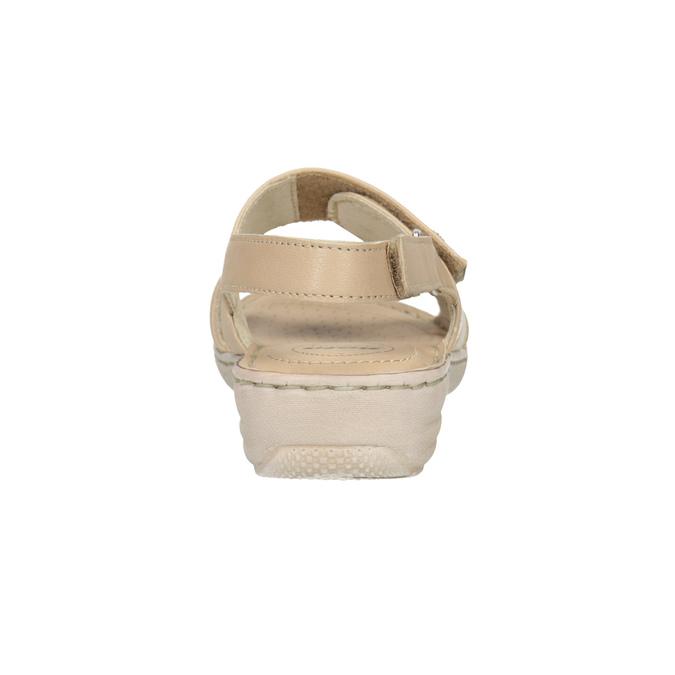 Beżowe skórzane sandały damskie na rzepy, beżowy, 566-8634 - 15