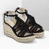 Czarne wyplatane sandały na platformie bata, czarny, 759-6633 - 26