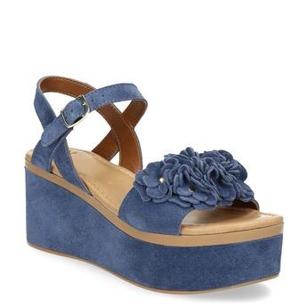 Niebieskie skórzane sandały na platformie bata, niebieski, 763-9601 - 13