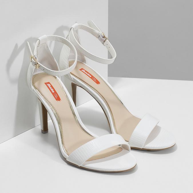 Białe sandały na szpilkach, biały, 661-1610 - 26