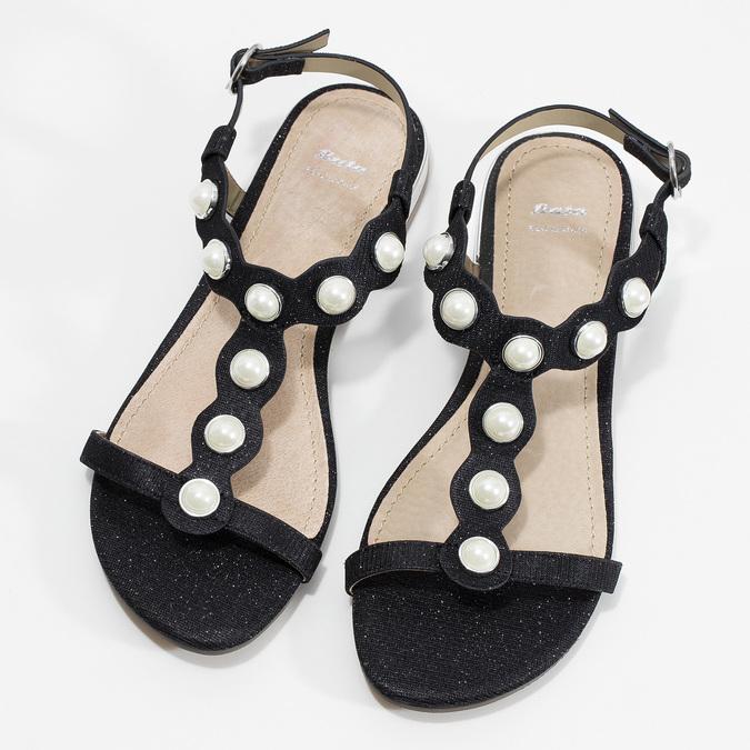 Czarne sandały zperełkami bata, czarny, 569-6606 - 16