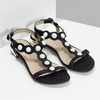 Czarne sandały zperełkami bata, czarny, 569-6606 - 26