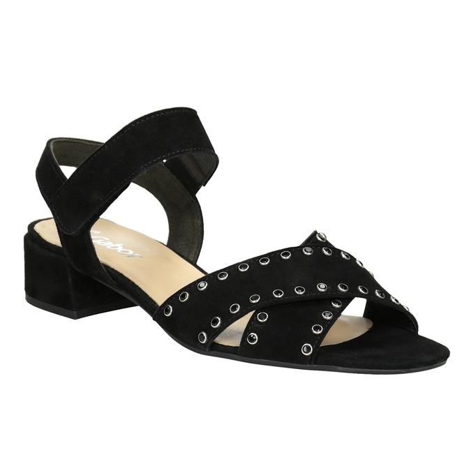 Skórzane sandały na niskich obcasach, zkryształkami gabor, czarny, 663-6005 - 13