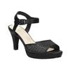 Czarne perforowane sandały damskie na obcasach insolia, czarny, 761-6618 - 13