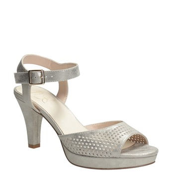 Srebrne perforowane sandały damskie na obcasach insolia, srebrny, 761-8618 - 13