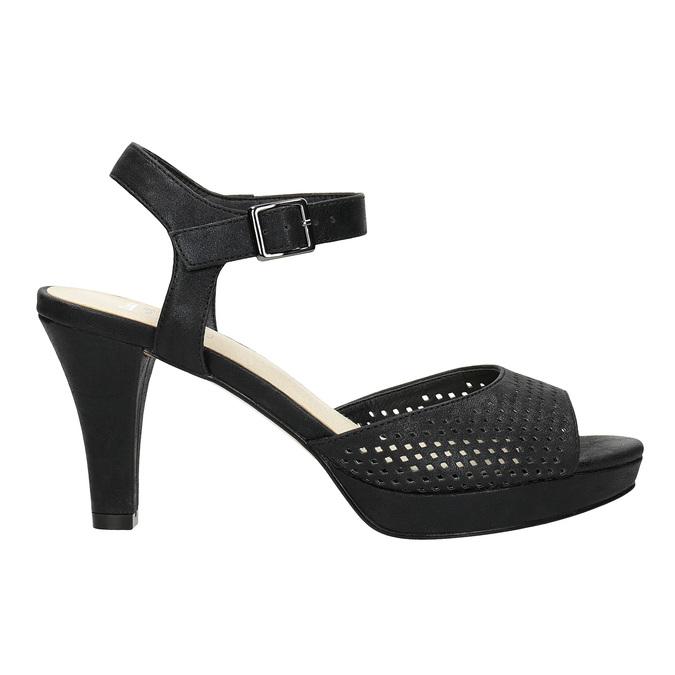 Czarne perforowane sandały damskie na obcasach insolia, czarny, 761-6618 - 16