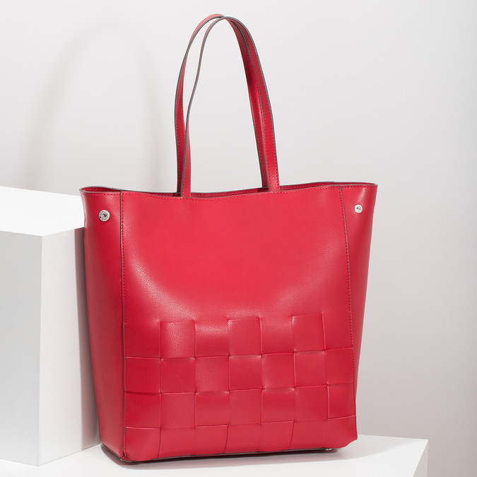Przestronna czerwona torba zprzeplatanymi pasami bata, czerwony, 961-5236 - 17