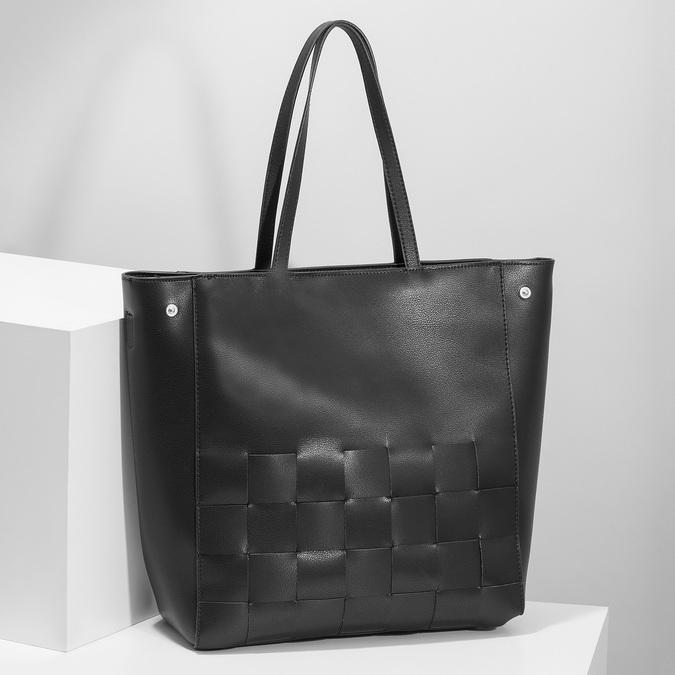 Czarna torebka zprzeplatanymi pasami bata, czarny, 961-6236 - 17