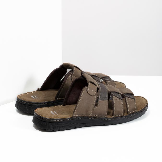 Brązowe skórzane klapki męskie bata, brązowy, 876-4600 - 16