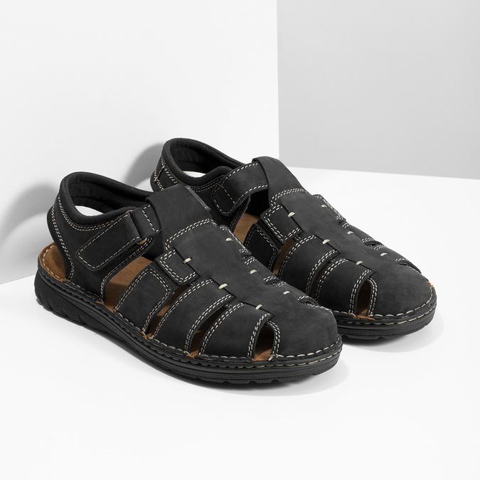 Czarne skórzane sandały męskie zpełnymi noskami bata, czarny, 866-6616 - 26