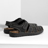 Czarne skórzane sandały męskie zpełnymi noskami bata, czarny, 866-6616 - 16
