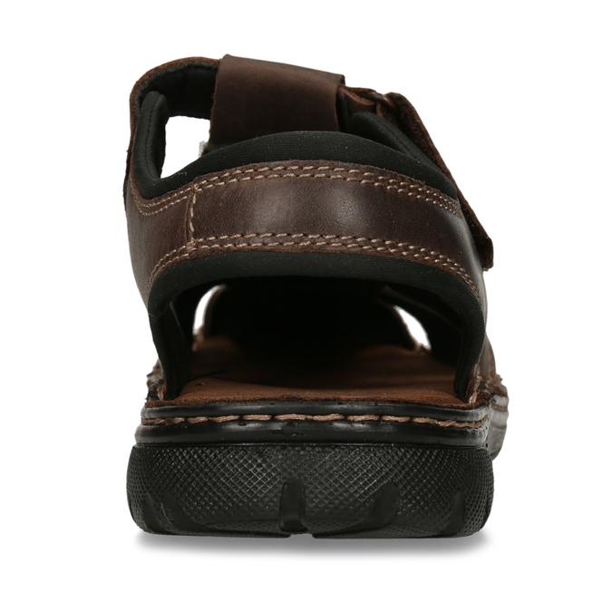 Brązowe skórzane sandały męskie zpełnymi noskami bata, brązowy, 866-4616 - 15