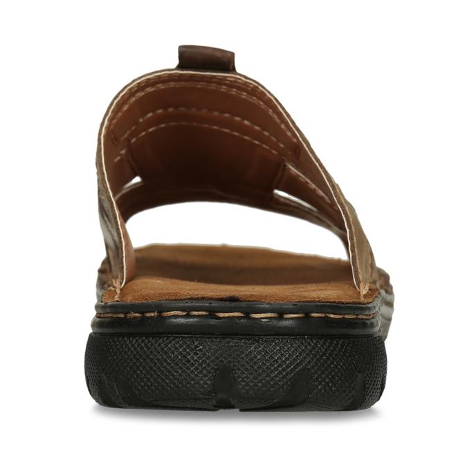 Skórzane klapki męskie zprzeszyciami bata, brązowy, 866-4615 - 15
