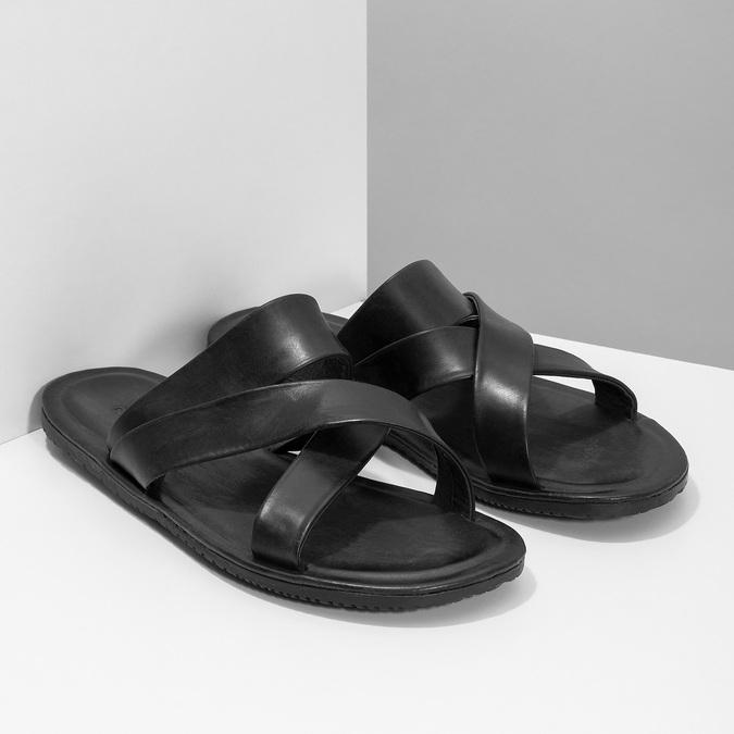 Czarne skórzane klapki męskie ze skrzyżowanymi paskami bata, czarny, 864-6603 - 26