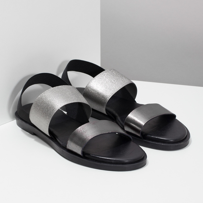 Czarno-srebrne skórzane sandały damskie bata, czarny, 566-6638 - 26