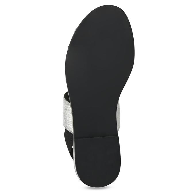 Czarno-srebrne skórzane sandały damskie bata, czarny, 566-6638 - 18