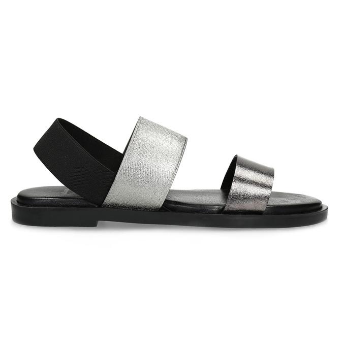 Czarno-srebrne skórzane sandały damskie bata, czarny, 566-6638 - 19