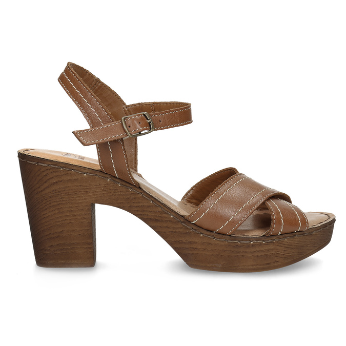 Brązowe skórzane sandały na drewnianych obcasach comfit, brązowy, 666-4624 - 19
