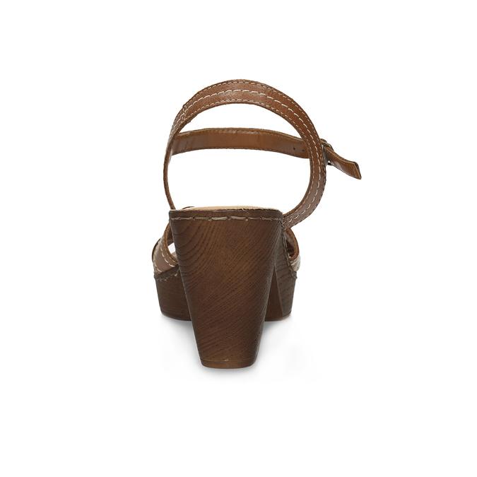 Brązowe skórzane sandały na drewnianych obcasach comfit, brązowy, 666-4624 - 15