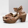 Brązowe skórzane sandały na drewnianych obcasach comfit, brązowy, 666-4624 - 16
